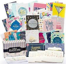 Cortesia Box Set of 40 Assorted Birthday Cards - UNIQUE DESIGNS and GOLD