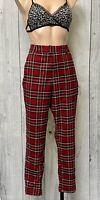 Hot Topic Red Plaid Pants Size Medium Goth grunge Y2K ALT punk electro emo