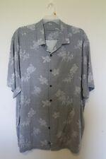 Tommy Bahama Men's Hawaiian Shirt Silk Gray & White Sz 2XT Big and Tall EUC