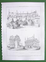 ARCHITECTURE PRINT : FRANCE Castles at Langeais, Brissac and Azey le Rideau