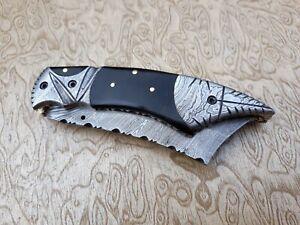 Beautiful  handmade Custom damascus steel folding pocket knife