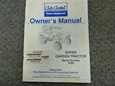 Cub Cadet Model 2086 Super Garden Tractor Owner Operator Maintenance Manual