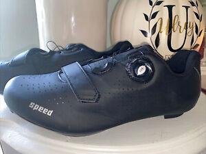 NEW Speed Men Black Road Bike Cycling Shoes Compatible Peloton Cleats EU40