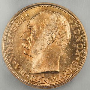 Denmark 1910 VBP 20 Kroner Gold Coin ICG MS64 GEM BU 0.2593 Oz AGW KM#810