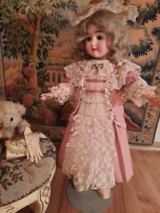 """Vintage French victorian  dress 16.5"""" for antique bisque German doll 24-28"""""""
