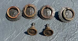 Rare 1920's Vintage Antique Dresser Drawer Pulls Ornate Brass Lot 4 & 2 Knobs