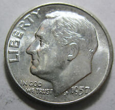 1957 silver Roosevelt dime grades unc (#38e)