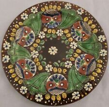 """Thoune Faience Owl Plate Majolica Hand Painted Switzerland 19th c 7 1/4"""" Antique"""