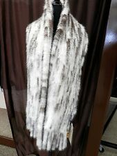 Linda Richards Black Cross Kohinoor Mink Fur Stole Scarf Wrap w/ Fringes - SALE