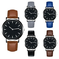 Fashion Men's PU Leather Band Analog Quartz Round Wrist Watch Watches Simple
