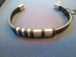 Stainless Steel Beaded Black PU Leather Bracelet. Be a Rockstar! ~New~