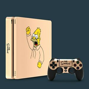 PS4 Slim Vinyl Skin & 2x Controller Skins, The Simpsons Abe Simpson Themed.