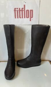 Fitflop Due Twisted Brown Leather High Boots Size UK 6 EU 39