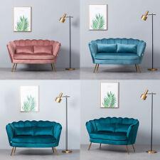 Upholstered Nordic Velvet Scallop Shell Loveseat Chair Sofa with Metallic Legs