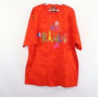New Vintage 90s Mens L/XL France Spell Out Acid Wash Short Sleeve Shirt Orange