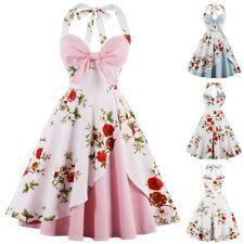 UK Women's Vintage Halter Dress 1950s Retro Rockabilly Evening Prom Swing Dress