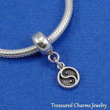 .925 Sterling Silver YIN YANG SYMBOL Dangle Bead CHARM fits EUROPEAN Bracelet