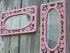2 LG PINK Faux Wicker Wall Frames Retro 70's Distressed Vtg Syroco