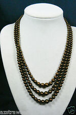 """VTG Cascade Chocolate pearl faux Sterling Silver clasp 3 strands necklace 16.5""""L"""