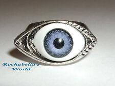 Ring Auge  massiv gearbeitet magisches Auge blau evil eye Gothic Steampunk