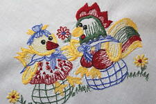 Easter Rooster & Hen On Date & Frohe Osterfest! Vtg German Tablecloth
