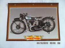 CARTE FICHE MOTO NORTON INTERNATIONAL   1936
