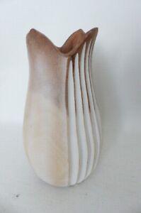 Anthropologie Lotus White Wooden Vase
