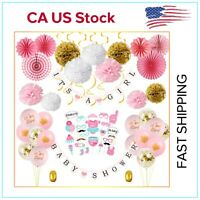 US 64Pcs/Lot Baby Shower Party Supply Hanging Decorations It's a Girl Banner Set