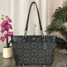 Coach Small Sophia Black Smoke Signature Tote Shopper Shoulder Bag 37118