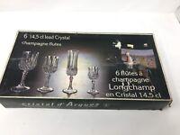 6 Vintage Cristal d'Arques Longchamp Crystal Champagne Flutes Stems Diamond Cuts