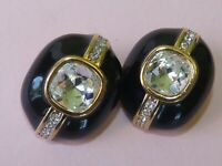 Nina Ricci signed vintage black enamel and rhinestone earrings