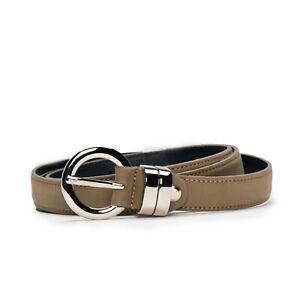 Modern elegant full grain belt on brown vegan leather round buckle single square
