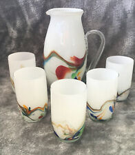 More details for stunning set of arts & crafts glass tumblers & matching jug multi swirl decor