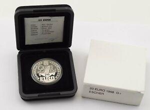 1998 Netherlands 20 Euro Silver Prooflike M.C. Escher Display Box & COA *395