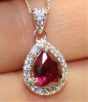 "Ruby Diamond Cluster Pendant  925 Sterling Silver Pear 18"" Chain Necklace"