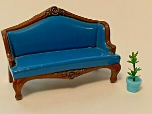The Littles Dollhouse Metal Furniture Blue Couch Sofa Doll House Mattel 1980