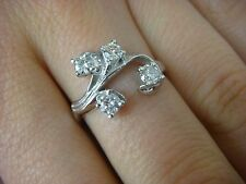 14K WHITE GOLD LADIES DIAMOND FREE STYLE RING 0.45 CT T.W. SIZE 6.75