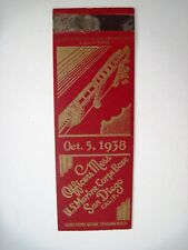 "Oct. 5, 1938 Matchbook Cover ""Officer's Mess U.S. Marines"" San Diego, CA   *"