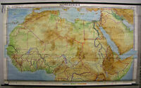 Schulwandkarte Nordafrika North Africa 255x154c 1968 vintage wall map chart card