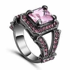 Vintage Square Pink Sapphire Wedding Band Ring 18KT Black Gold Filled Size 9