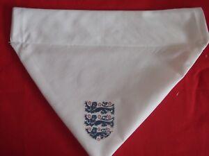 ENGLAND WORLD CUP DOG BANDANA ~ Slide on Handmade WHITE