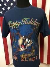 Vtg 90s Taz Happy Holidays T-Shirt men's XL Merry Christmas Looney Tunes Crazy
