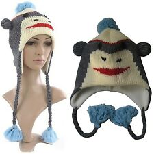 Hat Blue Grey White Monkey Animal Knitted Nepal Fleece Lined One Size Covers ear