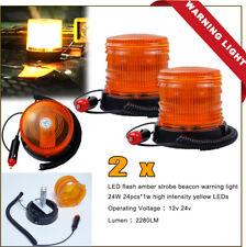 2 xAMBER LED BEACON STROBE EMERGENCY FLASHING ROTATING WARNING Work LIGHTS TRUCK