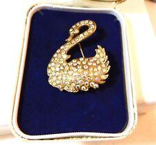 Christmas Vintage Gold Tone Swan Brooch Pave set Aurora Borealis Rhinestones