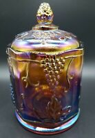 Vintage Gold Amber Purple Iridescent Harvest Grape Maple Leaf Lidded Canister