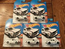 2017 Hot Wheels DATSUN 620 Truck 1972 Greddy Lot of 5 FIVE White Hot Trucks