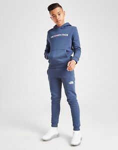 The North Face Kids Youth Fleece Tracksuit Hoodie Pants Jogger Top Full Set Blue