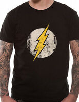 Official The Flash Distressed Logo T Shirt Mens Unisex Black NEW S M L XL XXL