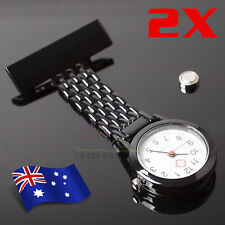 2x Metal Nurse Chain Brooch Fob Watch Nursing Nurses Pendant Clip Pocket Quartz